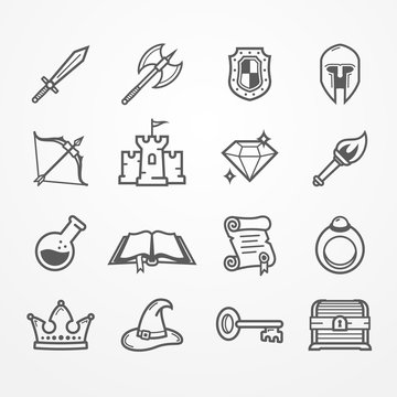 Set of fantasy role play PC game icons in line style. Sword battle axe shield warrior helmet bow castle diamond torch potion spell book scroll. Vector stock image.