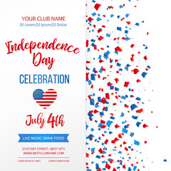 Independence day celebration. Fourth of July.Traditional American holiday greeting card, poster, flyer. Patriotic banner template. July 4th typographic design. Vector illustration.