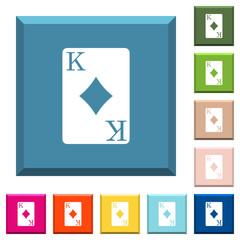 King of diamonds card white icons on edged square buttons