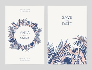 Bundle of beautiful templates for Save the Date card and exotic wedding party invitation decorated with foliage of tropical jungle plants hand drawn with contour lines. Summer vector illustration.