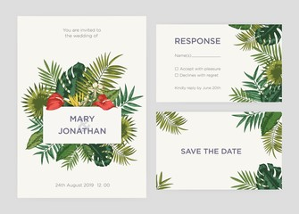 Collection of elegant templates for Save the Date card, wedding invitation response note decorated with hand drawn leaves of exotic plants or tropical jungle foliage. Natural vector illustration.