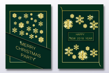 Christmas card with paper snow flake. Falling snowflakes on a black winter background. Happy new year gold party voucher set. Vector illustration. Merry Christmas, new year design. EPS 10.
