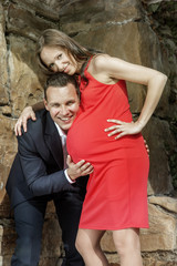 Couple pregnant woman vertical