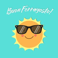 Buon Ferragosto italian holiday card as cute hand drawn smiling cartoon character of Sun