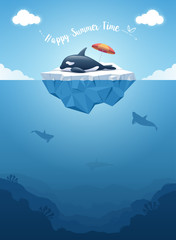 Cute Orca or the killer whale sleeping on the iceberg with a message. Iceberg with above and underwater view. Whales swim in the ocean. Summer background concept. Vector illustration.