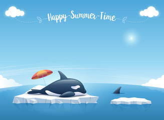 "Cute Orca or the killer whale sleeping on the iceberg floating in a blue ocean with a message ""Happy Summer Time"". Summer background concept. Vector illustration."