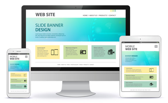 Responsive Web Site Design With Computer Monitor, Tablet Computer and Mobile Phone Screen