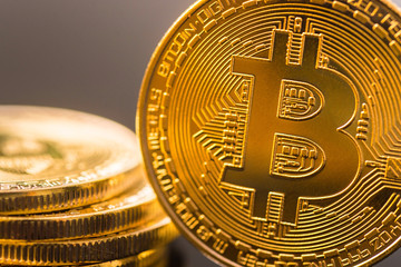 Golden Bitcoin Coin. Business concept of bitcoin cryptocurrency