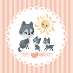 Wolf family. Mother's Day greeting card with cute animals and their cubs. Colorful vector illustration in cartoon style.