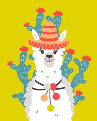 Hand Drawn Poster with Cartoon Llama