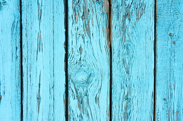Old wooden background painted with blue paint paint with a texture of cracks and scratches.