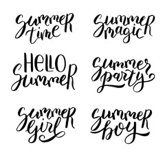 Summer lettering set. Hand drawn quotes. Artistic modern calligraphy. Collection of black phrases isolated on white background.