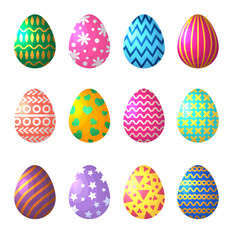 Easter eggs in cartoon style. Celebration symbols