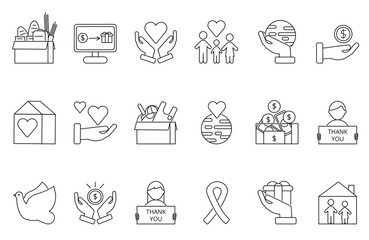 Symbols of volunteers and charities organisations. Monolines icons set