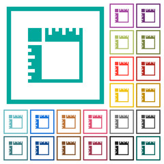 Canvas rulers flat color icons with quadrant frames