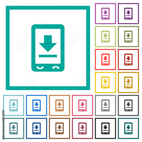 Mobile download flat color icons with quadrant frames\