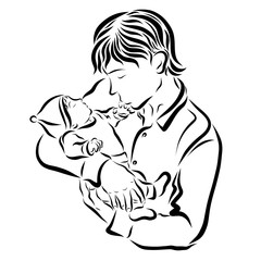 A caring young father kisses a newborn baby
