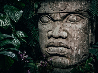 Türaufkleber Historische denkmal Olmec sculpture carved from stone. Big stone head statue in a jungle