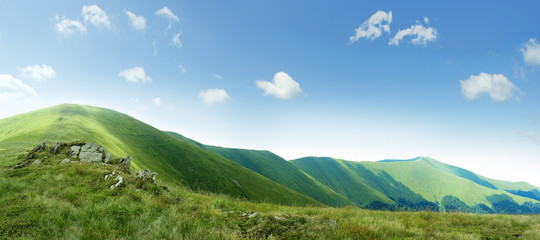 on top of green Carpathian mountains range with blue sky on a sunny day, empty landscape background of wide panorama