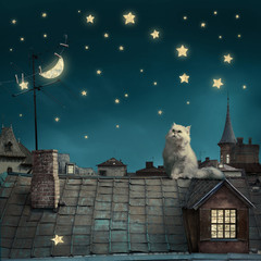 surreal fairy tale art background, cat on roof, night sky with moon and stars