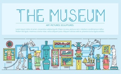 Thin line woman standing near different sculptures, pictures, and art objects in the museum concept. Outline vector illustration design