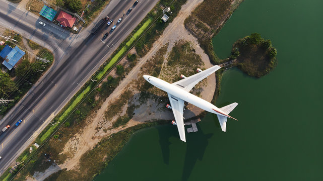 Top view from flying drone.  Boeing 747 was scrapped. Park adds value to attractions in Nakhon Pathom Province,Thailand.