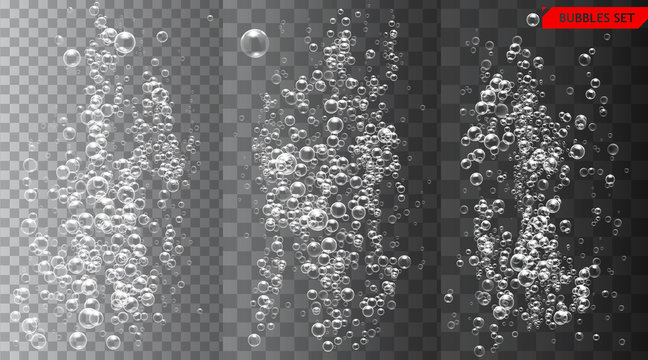 Set of bubbles under water isolated vector illustration on transparent background.