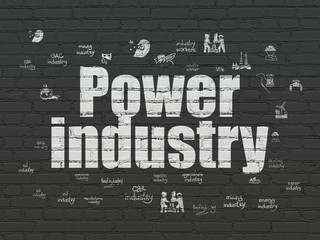 Manufacuring concept: Painted white text Power Industry on Black Brick wall background with  Hand Drawn Industry Icons