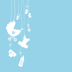 Hanging Baby Symbols Boy White/Blue