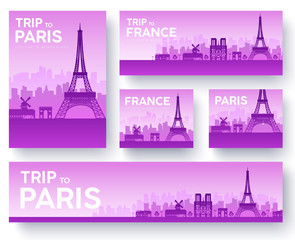 France landscape vector banners set. Vector design illustration concept