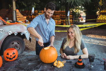 Couple preparing halloween