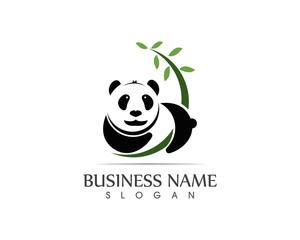 Cute panda logo vector illustration