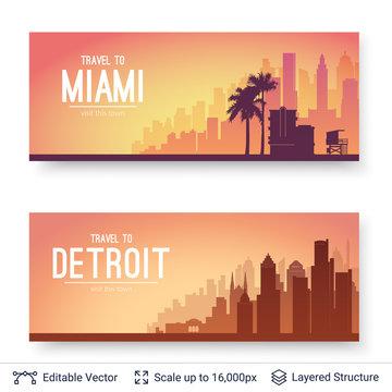 Miami and Detroit famous city scapes.