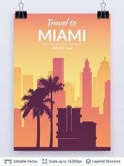 Miami famous city scape.