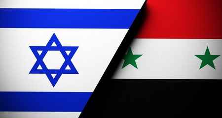 Realistic Flags Of Israel And Syria Concept 3D Rendering