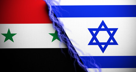 Realistic Flags Of Israel And Syria With Storm Lightnings In The Middle Concept 3D Rendering