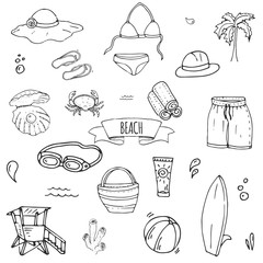 Hand drawn doodle Beach set icons Vector illustration Sketchy summer vacation elements collection Isolated holiday objects Cartoon sea relax journey symbols Summertime traveling background