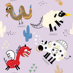Cute Animal Vector illustration Icon Set isolated on background