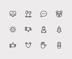 Emoji icons. Set of emoji thumb up, emoji hand, cute cactus emoji vector sign symbols. Vector illustration of pretty emoticons set for logo web mobile design.