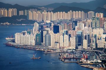 Buildings and harbor, Hong Kong.