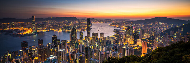 Hong Kong sunrise panoramic view from The Peak view point. Wall mural