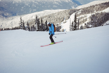 Skier skiing on snowy mountains