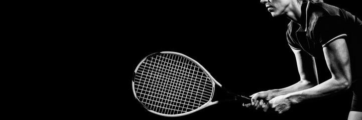 Fototapeta Tennis player playing tennis with a racket  obraz