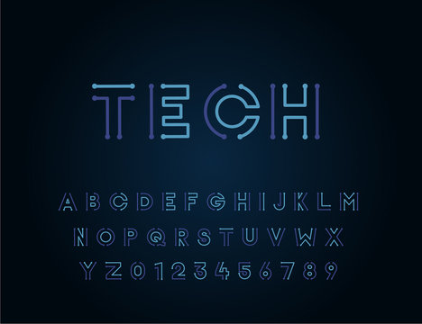 Tech vector font typeface unique design. For technology, circuits, engineering, digital , gaming, sci-fi and science subjects.