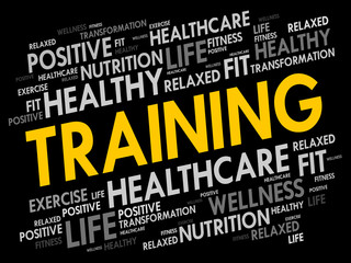 TRAINING word cloud collage, fitness, sport, health concept