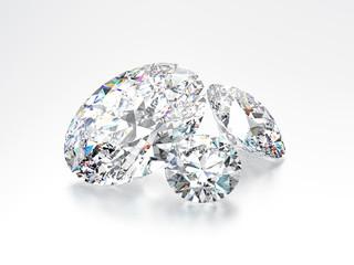 3D illustration group of three white round diamonds stones