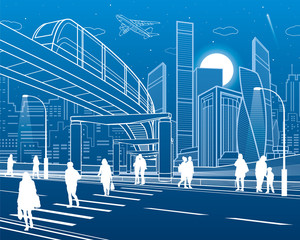 Monorail bridge across the highway. Urban infrastructure, modern city on background, industrial architecture. People walking. White lines illustration, night scene, vector design art