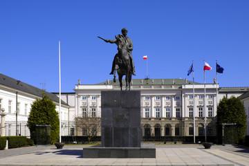 Warsaw, Poland - Historic quarter of Warsaw old town - president palace at Krakowskie Przedmiescie...