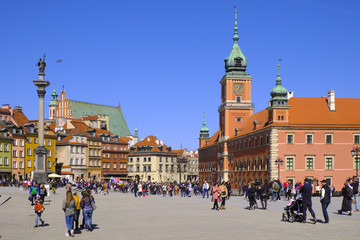 Warsaw, Poland - Historic quarter of Warsaw old town - Royal Castle Square, Royal Palace and...
