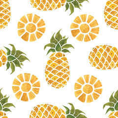 Pineapple background. Hand Drawn illustration. Watercolor Seamless pattern